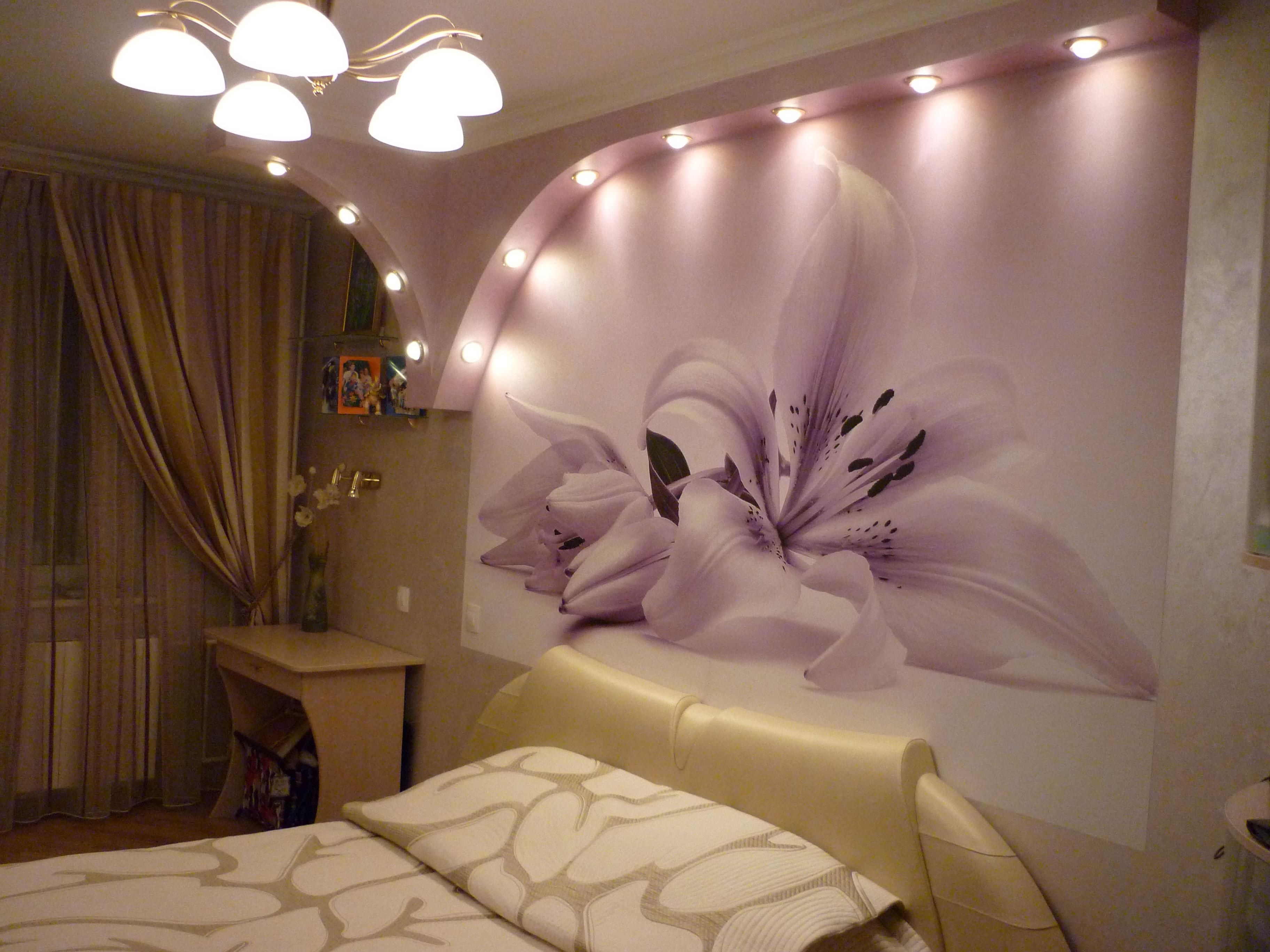 Стены из гипсокартона для спальни