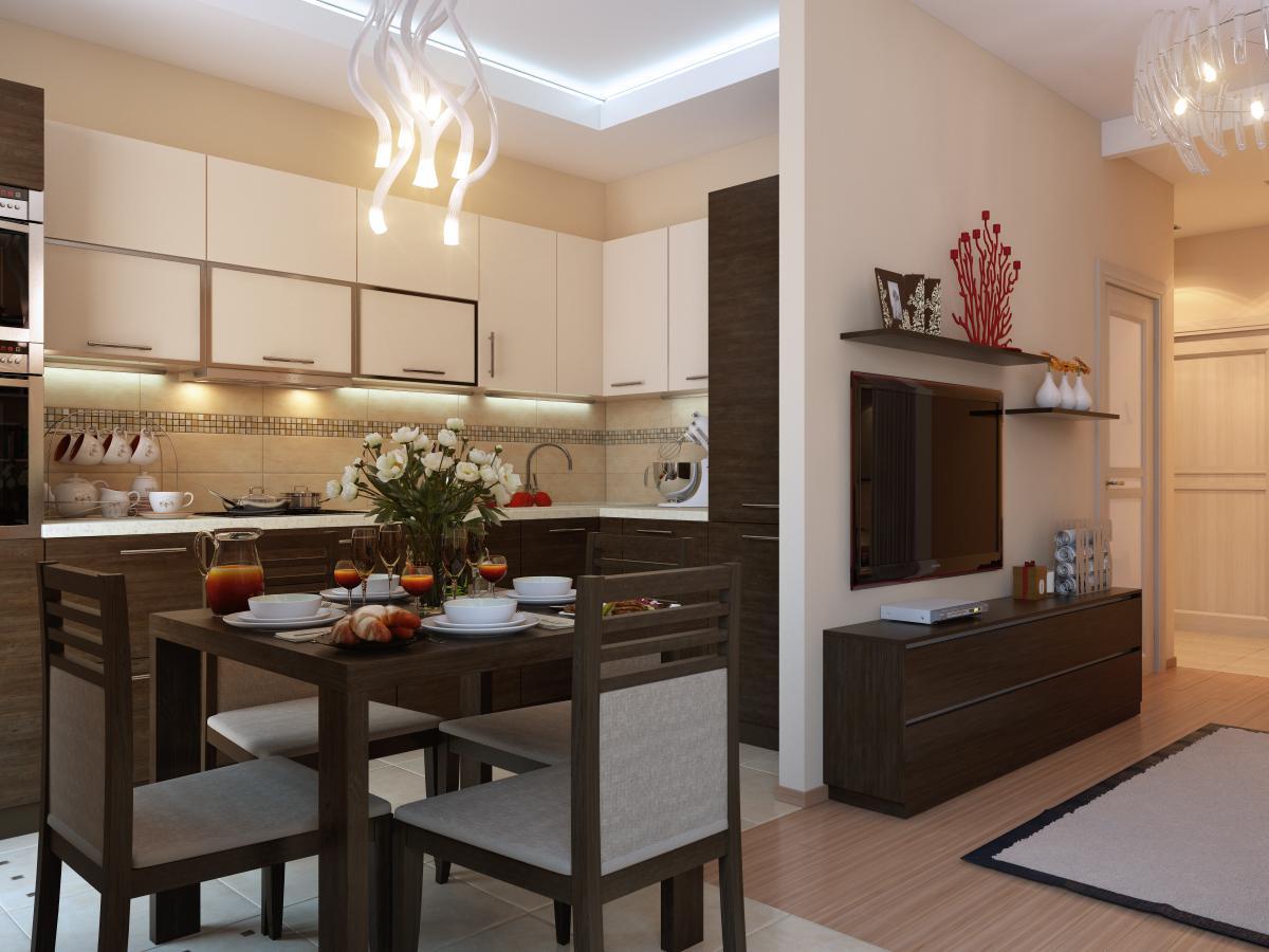 Дизайн кухни однокомнатной квартиры фото